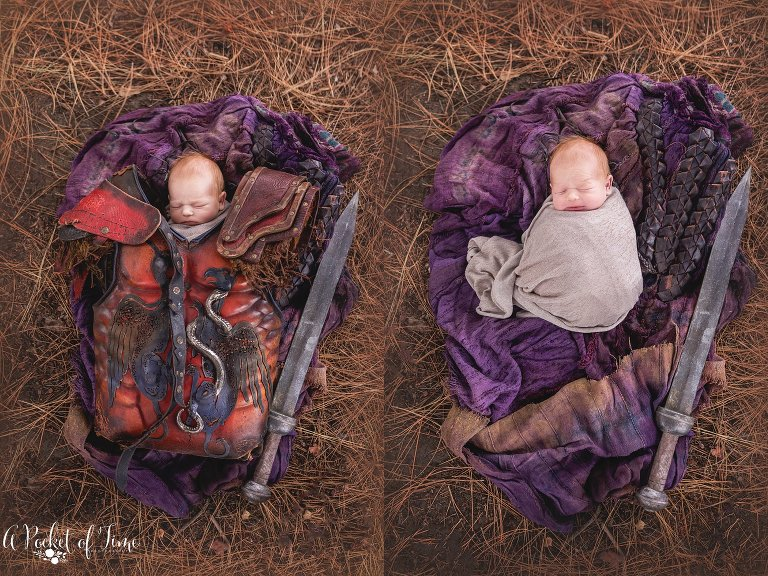 newborn baby Spartacus by a pocket of time photography