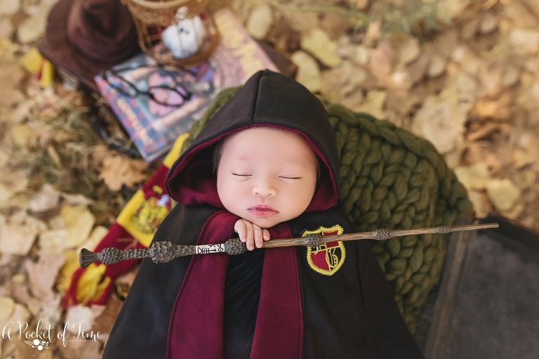 Harry Potter newborn baby girl by a pocket of time photography